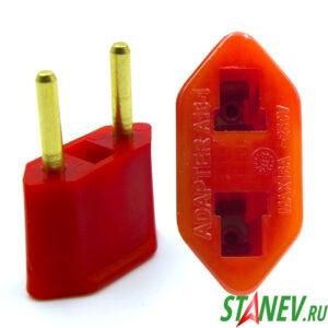 Переходник сетевой плоский А16-1 16А бордо-айфон Standart Luxe 50-800