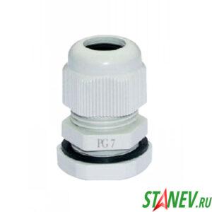 Сальник кабельный ввод PG 7 D кабеля 2-6 мм с уплотнителем с контргайкой Plastex 100-1000