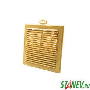 Решетка вентиляционная наружная 208х208 бежевая пластиковая вытяжная разборная с сеткой ТДМ 10-50