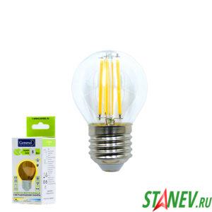 Лампа филаментная Шар-Е27 8Вт светодиодная 2700K теплый белый свет 1-10