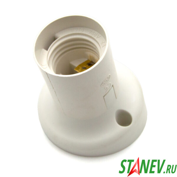 Электрический патрон настенный Е27 косой фланец белый пластик Standart-Luxe 12-200-240