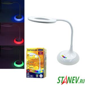 Светильник настольный светодиодный LED GENERAL белый сенсорный RGB подсветка основания 8W 1-1