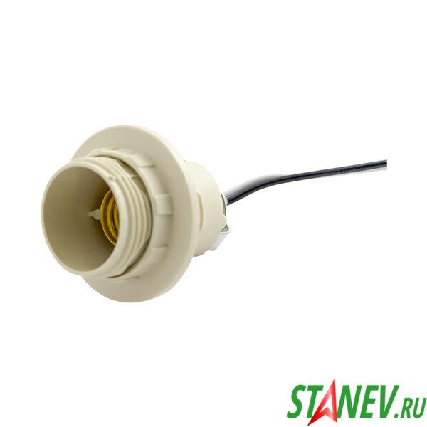 Электрический патрон Е14 с кольцом на проводе белый пластик для люстр 100-200