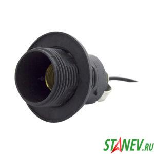 Электрический патрон Е14 с кольцом на проводе черный пластик для люстр 100-400
