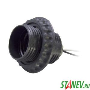 Электрический патрон Е27 с кольцом на проводе черный пластик для люстр 50-200