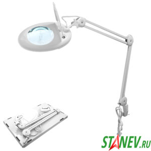 Лампа лупа настольная с подсветкой светодиодной LED ZD-140А настольный зажим 1-4