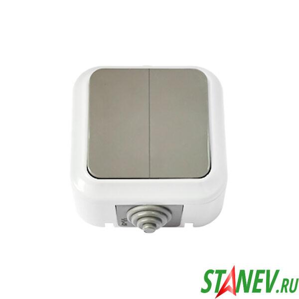 АКВА Выключатель А56-224 03 влагозащищенный IP54 накладной 2кл для ванной комнаты туалета 1-60