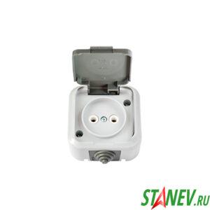 АКВА Розетка РА16-296 03 влагозащищенная IP54 накладная с крышкой б-з для ванной туалета 1-60