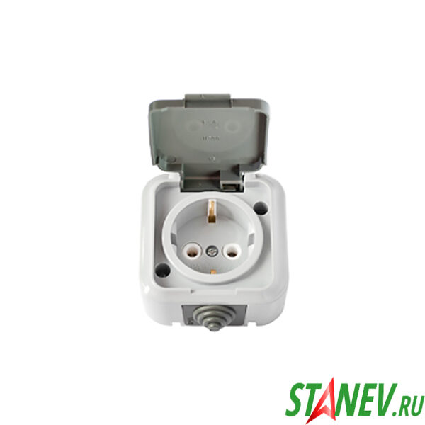АКВА Розетка РА16-297 03 влагозащищенная IP54 накладная с крышкой с-з для ванной туалета 1-50