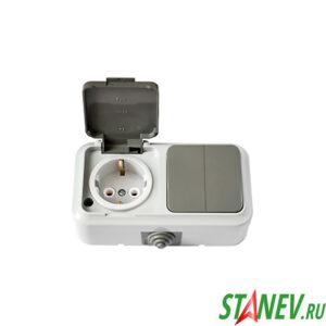 АКВА Блок 2В-РЦ-659 03 влагозащищенный IP54 накладной 2кл выключатель и розетка с крышкой с-з 1-25