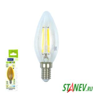 Лампа филаментная Свеча-Е14 10Вт светодиодная 2700K теплый белый свет 1-10