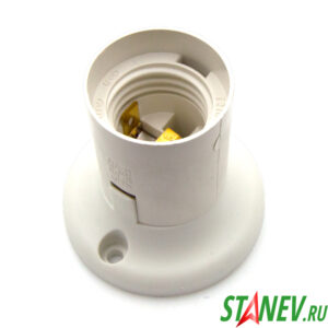 Электрический патрон потолочный Е27 прямой фланец белый пластик Standart-Luxe 12-200-240