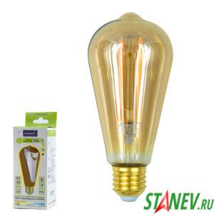 Лампа филаментная грушевидная Е27 13Вт модель Винтаж ST64S LED 2700K теплый свет General 1-10