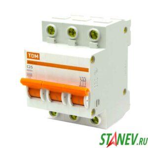Автоматический выключатель ВА47-63 3Р 25А ТДМ 4-40