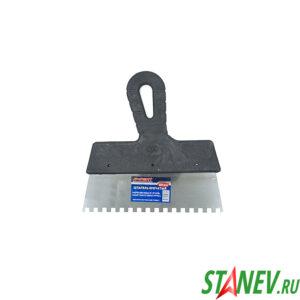 Шпатель зубчатый 200 мм ЗУБ 6х6 мм нержавеющая сталь пластиковая ручка 10-120