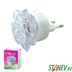 Ночник диодный Цветок малый 0.5W/220V с выключателем 10-100