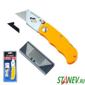 Нож строительный складной DK-818 с набором из 5-и лезвий X-PERT для линолиума и гипсокартона 1-12