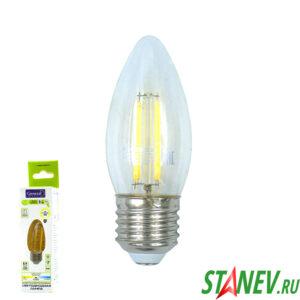 Лампа филаментная Свеча-Е27 8Вт светодиодная 4500K естественный белый свет 1-10
