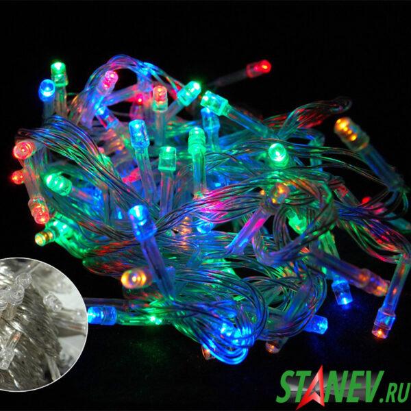 Гирлянда нить комнатная разноцветная 100 LED 6м 8 режимов 1-100