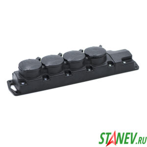 BYLECTRICA Колодка электрическая с крышками на 4 розетки 16А каучук с заземлением IP44 Р16-467 1-12