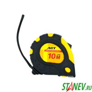 Рулетка измерительная АСТ в прорезиненном корпусе 10 м односторонний зацеп 6-60