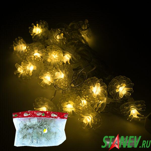 Гирлянда нить D комнатная ЦВЕТОЧКИ 40 LED соединяемая 1-60-100