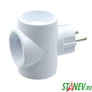 TOKER Разветвитель электрический 3 розетки без заземления 3Т белый 6-10А 1-120