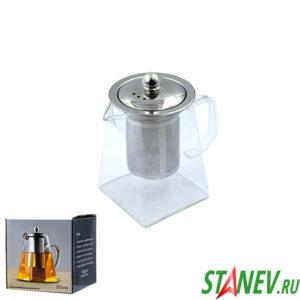 Чайник заварочный 550мл стекло и нержавеющая сталь 1-60