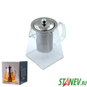 Чайник заварочный 750мл стекло и нержавеющая сталь 1-60