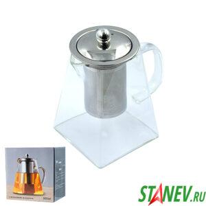 Чайник заварочный 950мл стекло и нержавеющая сталь 1-60