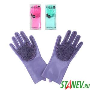 Силиконовые перчатки для мытья посуды с ворсинками 12-240