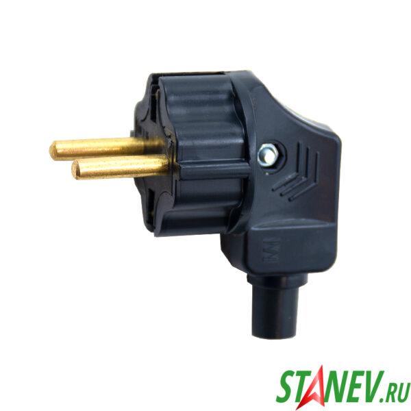 Вилка электрическая В16-001 черная боковой вход с заземляющим контактом Горс -350