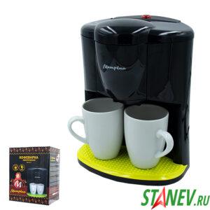Кофеварка МА-017 черная 450Вт две чашки Матрёна 1-12